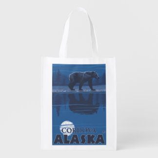 Bear in Moonlight - Cordova, Alaska Reusable Grocery Bag