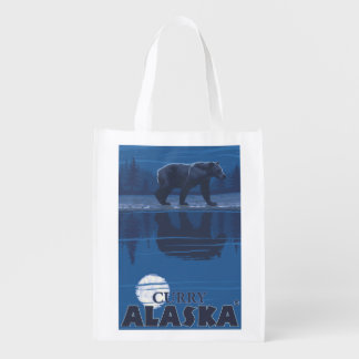 Bear in Moonlight - Curry, Alaska Reusable Grocery Bag