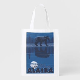 Bear in Moonlight - Denali National Park, Alaska Reusable Grocery Bag