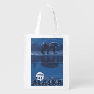Bear in Moonlight - Fairbanks, Alaska Reusable Grocery Bag