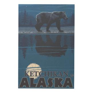 Bear in Moonlight - Ketchikan, Alaska Wood Print