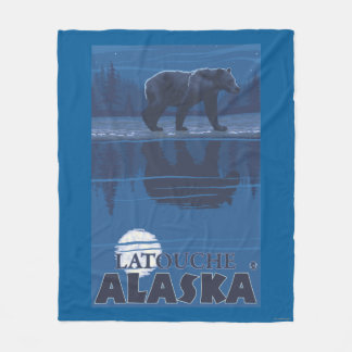 Bear in Moonlight - Latouche, Alaska Fleece Blanket