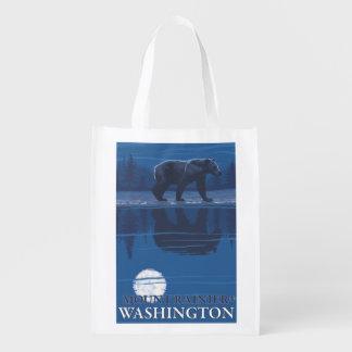 Bear in Moonlight - Mount Rainier, Washington Reusable Grocery Bag