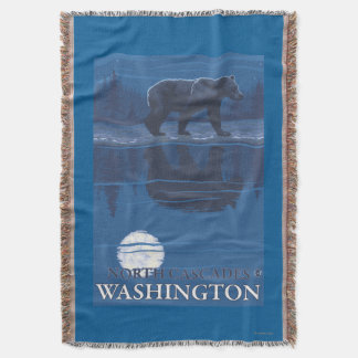 Bear in Moonlight - North Cascades, Washington Throw Blanket