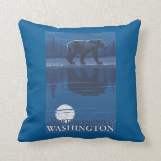 Bear in Moonlight - North Cascades, Washington Throw Pillow
