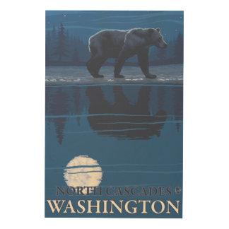 Bear in Moonlight - North Cascades, Washington Wood Print