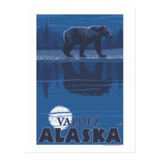 Bear in Moonlight - Valdez, Alaska Postcard