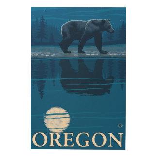 Bear in Moonlight- Vintage Travel Poster