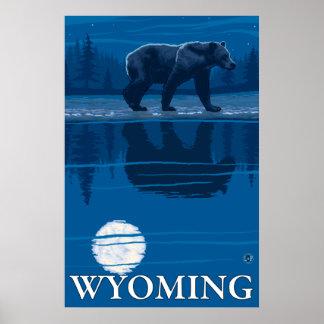 Bear in Moonlight - Wyoming Poster