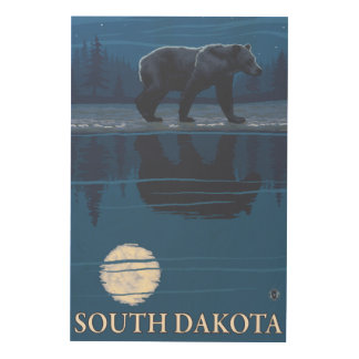 Bear in MoonlightSouth Dakota Wood Print