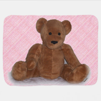 Bear in Pink Baby Blanket