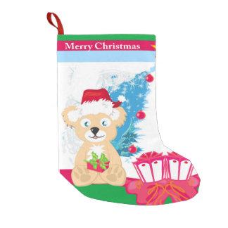 Bear in Santa hat Christmas Stocking