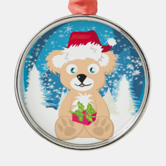 Bear in Santa hat Decoration Silver-Colored Round Decoration