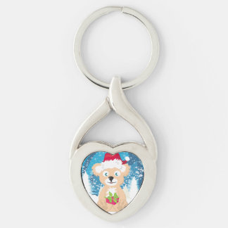 Bear in Santa hat Key Ring Silver-Colored Twisted Heart Key Ring