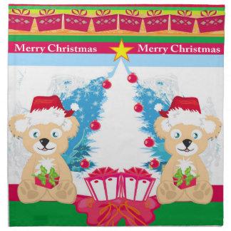Bear in Santa hat Napkins