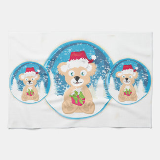 Bear in Santa hat TeaTowels Tea Towel
