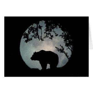 Bear in the Full Moon Season's Greetings Card