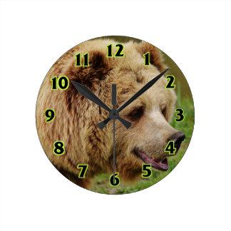 Bear in the wild round clock