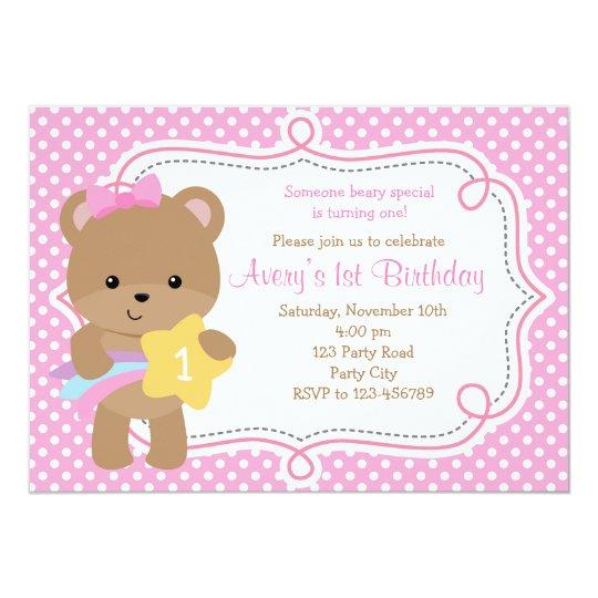 Bear Invitation (Girl - with Star) Pink Polka