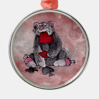 Bear Joker Silver-Colored Round Decoration