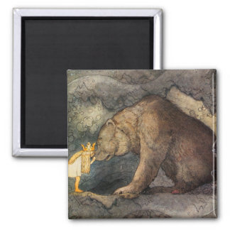 Bear Kiss Square Magnet
