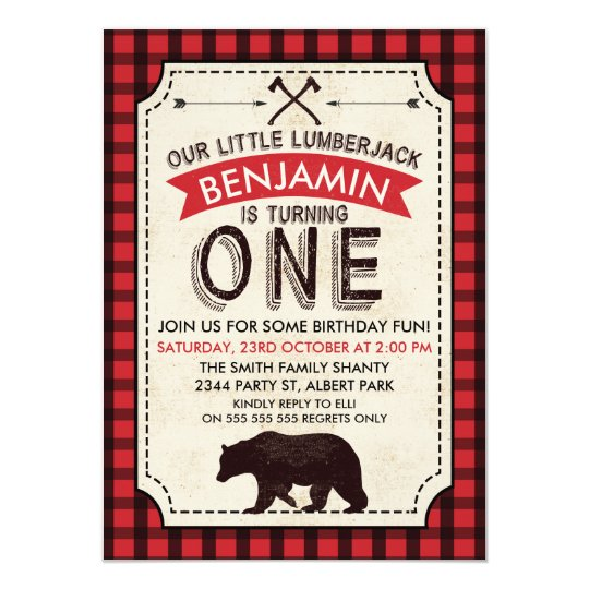 Bear Lumberjack 1st Birthday Invitation
