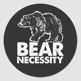 Bear Necessity Awesome Graphic Animal Round Sticker