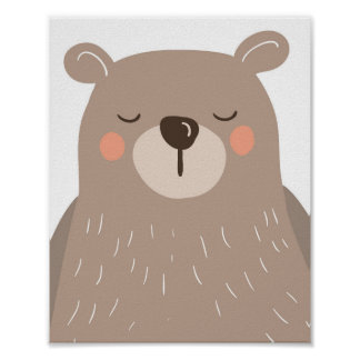 Bear nursery art print Kids room Bear sleeping