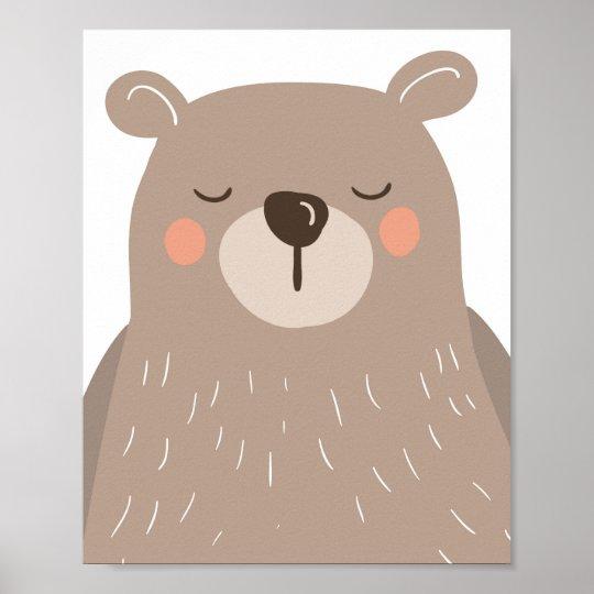 3208291c34e70 Bear nursery art print Kids room Bear sleeping