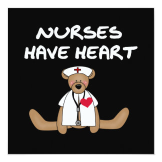Bear Nurses Have Heart T-shirts and Gifts 13 Cm X 13 Cm Square Invitation Card