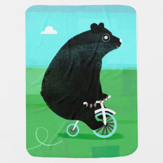 Bear On A Bicycle Baby Blanket! Buggy Blanket