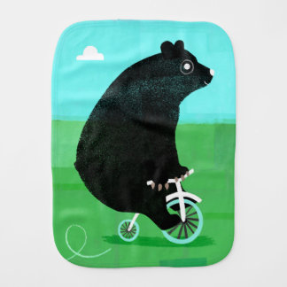 Bear On A Bicycle Burp Cloth! Burp Cloth
