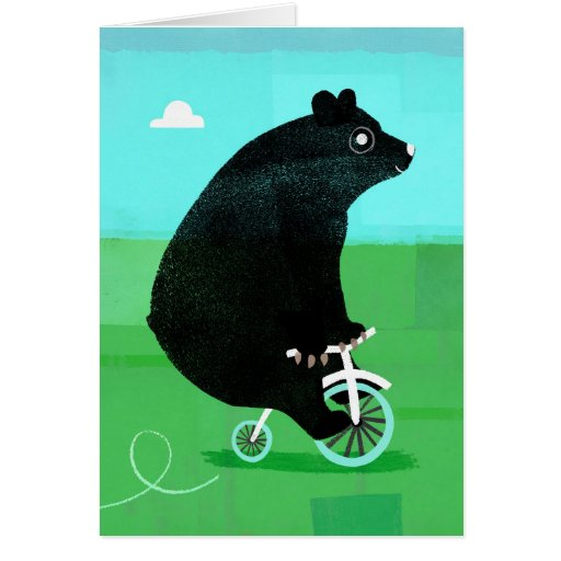 Bear On A Bike Greeting Cards