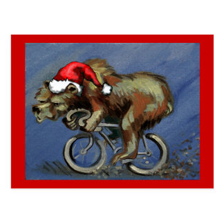 Bear On A Bike For Hipster X-Mas Post Card