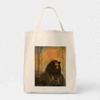 Bear on a Log Canvas Bags