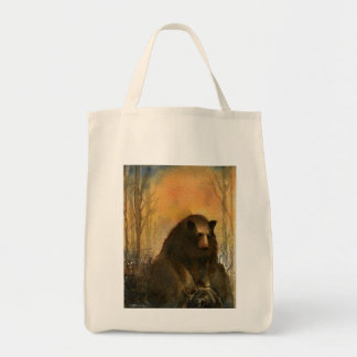 Bear on a Log Grocery Tote Bag