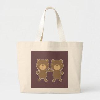 Bear on plain plum background tote bag