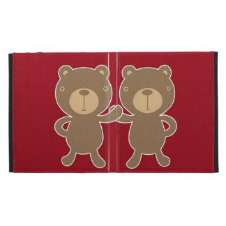 Bear on plain preppy red background iPad folio cover