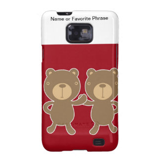 Bear on plain preppy red background samsung galaxy s2 covers