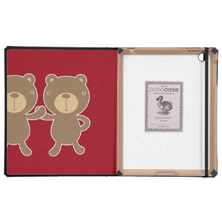 Bear on plain preppy red background iPad covers