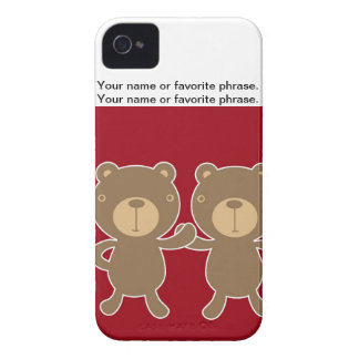 Bear on plain preppy red background Case-Mate iPhone 4 case
