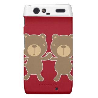 Bear on plain preppy red background motorola droid RAZR covers