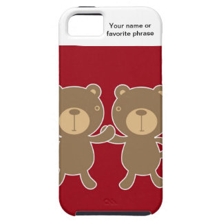 Bear on plain preppy red background iPhone 5/5S cover