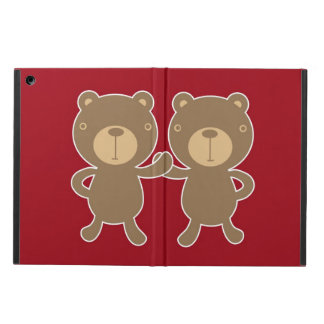 Bear on plain preppy red background iPad air cases