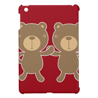 Bear on plain preppy red background cover for the iPad mini