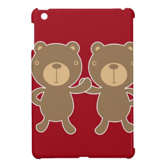 Bear on plain preppy red background iPad mini case