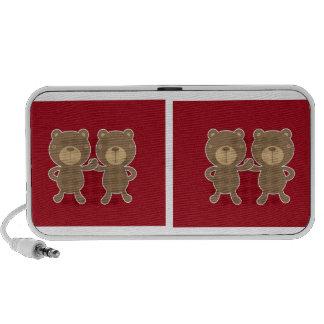 Bear on plain preppy red background speakers