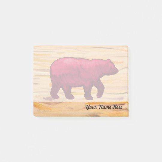 Bear on Woodgrain Post it Note