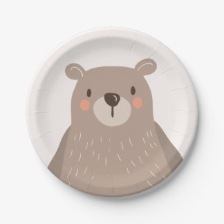 Bear Paper Plates Baby shower Woodland animals
