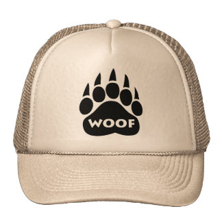 "Bear Paw Gay Pride Hat ""Woof"" Text"